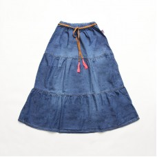 Chambray Denim Maxi Skirt With Leather Belt